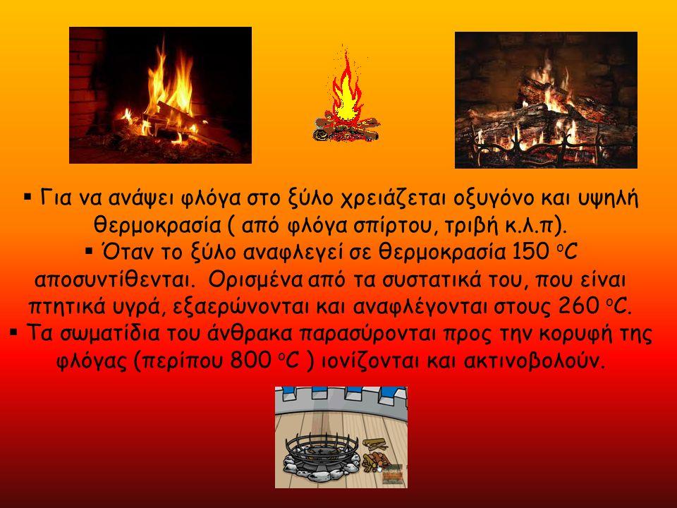  Για να ανάψει φλόγα στο ξύλο χρειάζεται οξυγόνο και υψηλή θερμοκρασία ( από φλόγα σπίρτου, τριβή κ.λ.π).  Όταν το ξύλο αναφλεγεί σε θερμοκρασία 150
