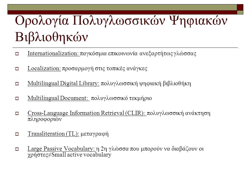 Ορολογία Πολυγλωσσικών Ψηφιακών Βιβλιοθηκών  Internationalization: παγκόσμια επικοινωνία ανεξαρτήτως γλώσσας  Localization: προσαρμογή στις τοπικές ανάγκες  Multilingual Digital Library: πολυγλωσσική ψηφιακή βιβλιοθήκη  Multilingual Document: πολυγλωσσικό τεκμήριο  Cross-Language Information Retrieval (CLIR): πολυγλωσσική ανάκτηση πληροφοριών  Transliteration (TL): μεταγραφή  Large Passive Vocabulary: η 2η γλώσσα που μπορούν να διαβάζουν οι χρήστες≠Small active vocabulary