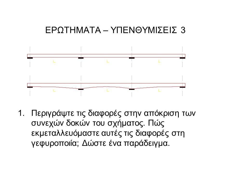 ΕΡΩΤΗΜΑΤΑ – ΥΠΕΝΘΥΜIΣΕΙΣ 3 1.Περιγράψτε τις διαφορές στην απόκριση των συνεχών δοκών του σχήματος.