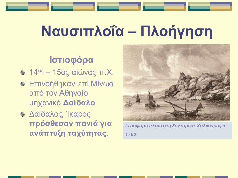 Ναυσιπλοΐα – Πλοήγηση Ιστιοφόρα 14 ος – 15ος αιώνας π.Χ. Επινοήθηκαν επί Μίνωα από τον Αθηναίο μηχανικό Δαίδαλο Δαίδαλος, Ίκαρος πρόσθεσαν πανιά για α