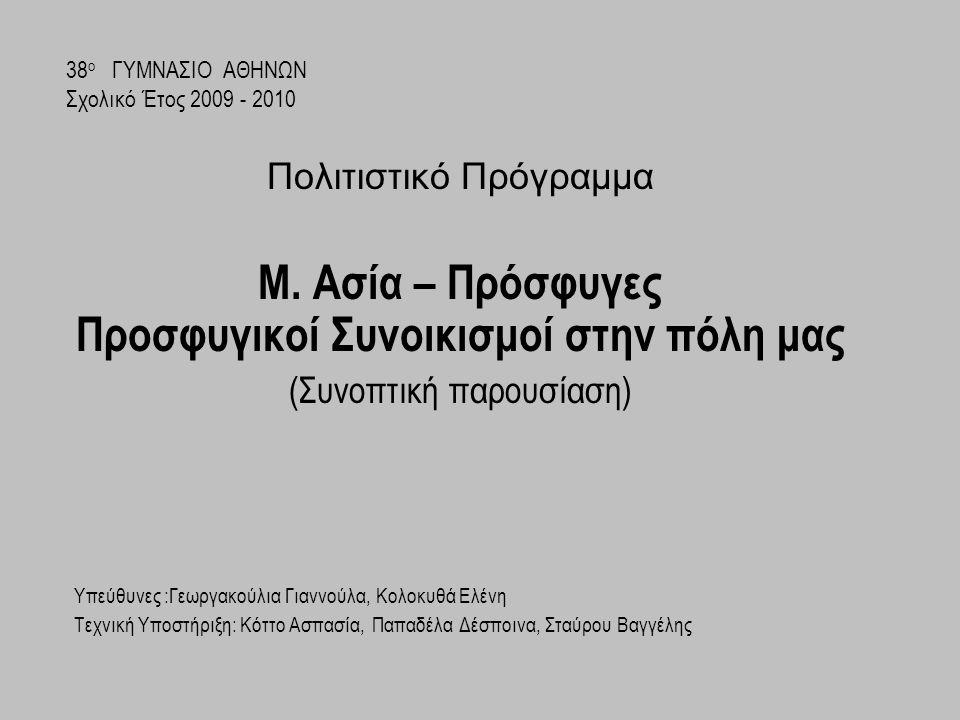 Εγκατάσταση των προσφύγων Προσφυγικός συνοικισμός Περιστερίου Οι πρόσφυγες εγκαταστάθηκαν στις παρυφές της πόλης της Αθήνας δημιουργώντας νέες συνοικίες με τα ονόματα των τόπων που χάθηκαν: Νέα Ιωνία, Νέα Φιλαδέλφεια, Νέο Ηράκλειο, Νέα Ερυθραία, Νέα Σμύρνη κα..