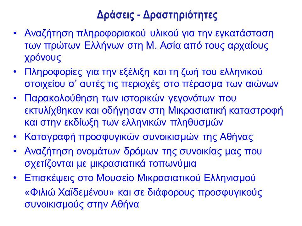 Δράσεις - Δραστηριότητες Αναζήτηση πληροφοριακού υλικού για την εγκατάσταση των πρώτων Ελλήνων στη Μ. Ασία από τους αρχαίους χρόνους Πληροφορίες για τ