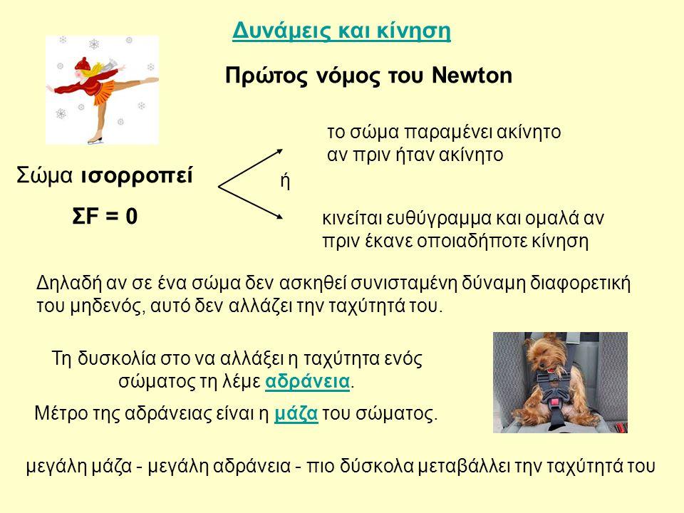 Δυνάμεις και κίνηση Πρώτος νόμος του Newton Τη δυσκολία στο να αλλάξει η ταχύτητα ενός σώματος τη λέμε αδράνεια.αδράνεια Μέτρο της αδράνειας είναι η μ