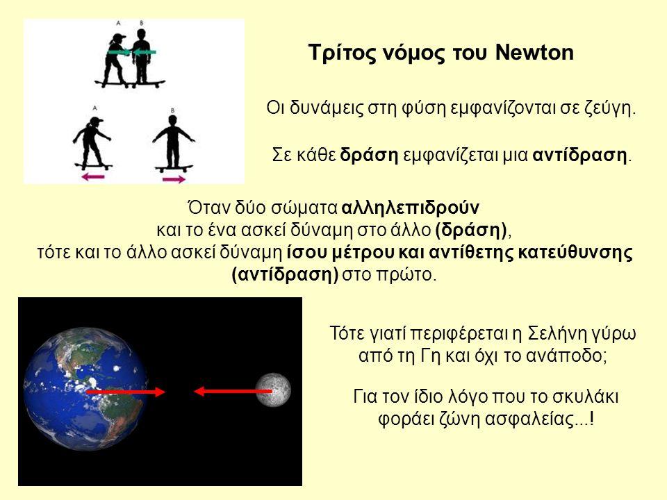 Όταν δύο σώματα αλληλεπιδρούν και το ένα ασκεί δύναμη στο άλλο (δράση), τότε και το άλλο ασκεί δύναμη ίσου μέτρου και αντίθετης κατεύθυνσης (αντίδραση