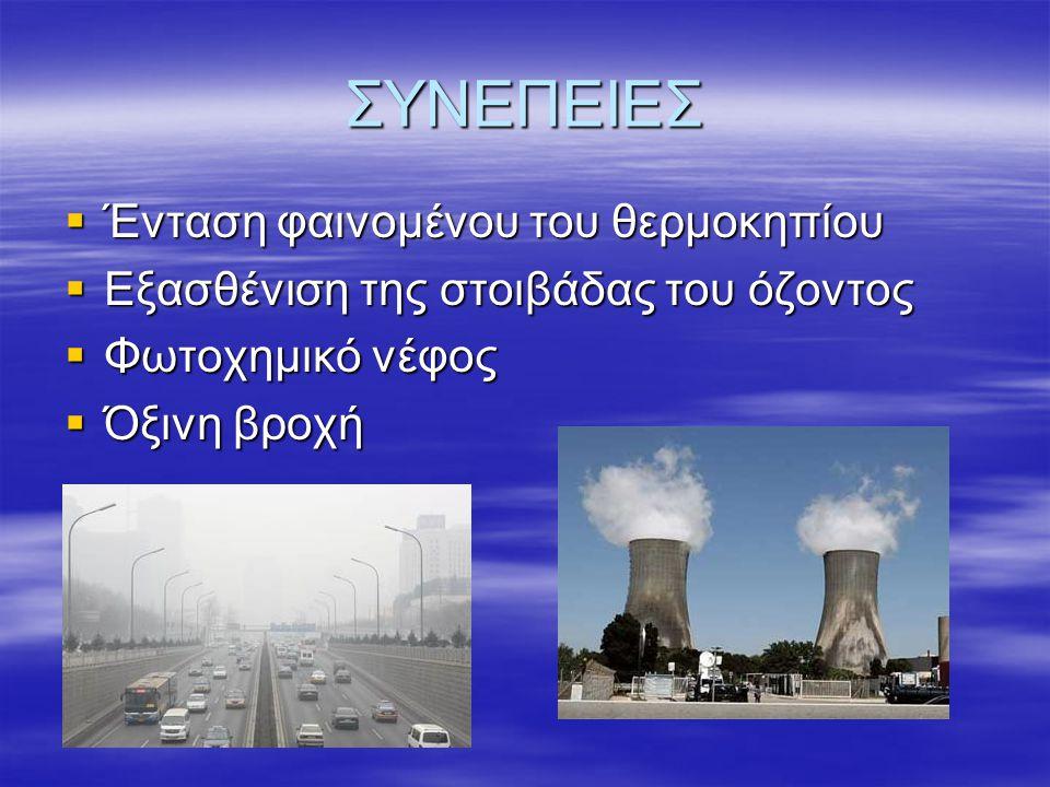 ΣΥΝΕΠΕΙΕΣ  Ένταση φαινομένου του θερμοκηπίου  Εξασθένιση της στοιβάδας του όζοντος  Φωτοχημικό νέφος  Όξινη βροχή