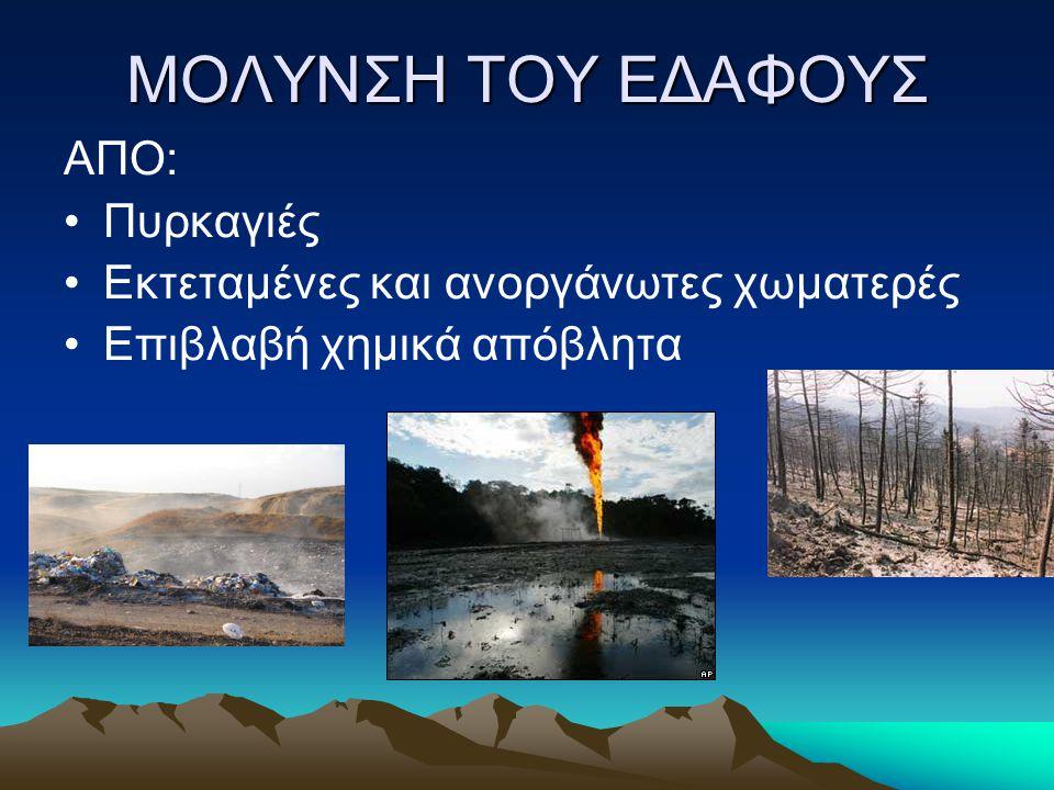 ΜΟΛΥΝΣΗ ΤΟΥ ΕΔΑΦΟΥΣ ΑΠΟ: Πυρκαγιές Εκτεταμένες και ανοργάνωτες χωματερές Επιβλαβή χημικά απόβλητα
