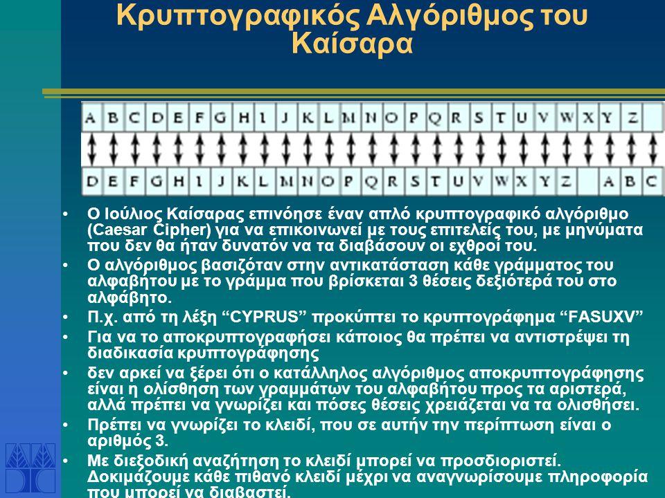 Κρυπτογραφικός Αλγόριθμος του Καίσαρα Ο Ιούλιος Καίσαρας επινόησε έναν απλό κρυπτογραφικό αλγόριθμο (Caesar Cipher) για να επικοινωνεί με τους επιτελείς του, με μηνύματα που δεν θα ήταν δυνατόν να τα διαβάσουν οι εχθροί του.