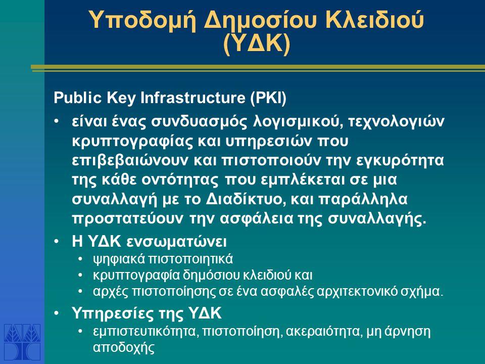 Υποδομή Δημοσίου Κλειδιού (ΥΔΚ) Public Key Infrastructure (PKI) είναι ένας συνδυασμός λογισμικού, τεχνολογιών κρυπτογραφίας και υπηρεσιών που επιβεβαιώνουν και πιστοποιούν την εγκυρότητα της κάθε οντότητας που εμπλέκεται σε μια συναλλαγή με το Διαδίκτυο, και παράλληλα προστατεύουν την ασφάλεια της συναλλαγής.