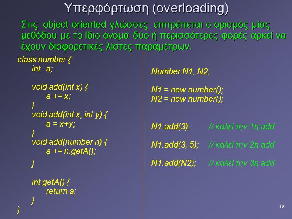 12 Υπερφόρτωση (overloading) Στις object oriented γλώσσες επιτρέπεται ο ορισμός μίας μεθόδου με τo ίδιο όνομα δύο ή περισσότερες φορές αρκεί να έχουν διαφορετικές λίστες παραμέτρων.