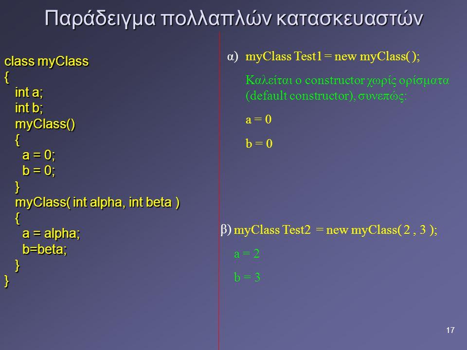 17 Παράδειγμα πολλαπλών κατασκευαστών class myClass { int a; int a; int b; int b; myClass() myClass() { a = 0; a = 0; b = 0; b = 0; } myClass( int alpha, int beta ) myClass( int alpha, int beta ) { a = alpha; a = alpha; b=beta; b=beta; }} myClass Test1 = new myClass( ); Καλείται ο constructor χωρίς ορίσματα (default constructor), συνεπώς: a = 0 b = 0 myClass Test2 = new myClass( 2, 3 ); a = 2 b = 3 α) β)
