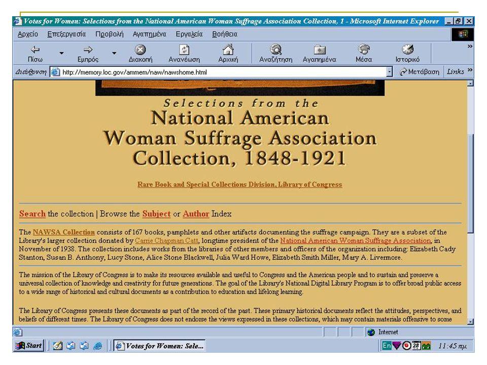 ομαδική εργασία/ ΑΛΕΞΑΚΗ, ΛΑΠΠΑ, ΛΟΥΚΑ/ ΨΗΦΙΑΚΕΣ ΒΙΒΛΙΟΘΗΚΚΕΣ/ ΜΑΘΗΜΑ ΚΑΠΙΔΑΚΗ 2003 20 National American Suffrage Association