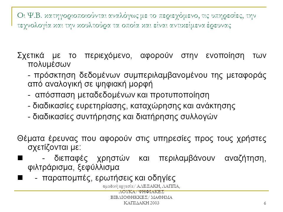 ομαδική εργασία/ ΑΛΕΞΑΚΗ, ΛΑΠΠΑ, ΛΟΥΚΑ/ ΨΗΦΙΑΚΕΣ ΒΙΒΛΙΟΘΗΚΚΕΣ/ ΜΑΘΗΜΑ ΚΑΠΙΔΑΚΗ 2003 6 Οι Ψ.Β. κατηγοριοποιούνται αναλόγως με το περιεχόμενο, τις υπηρε