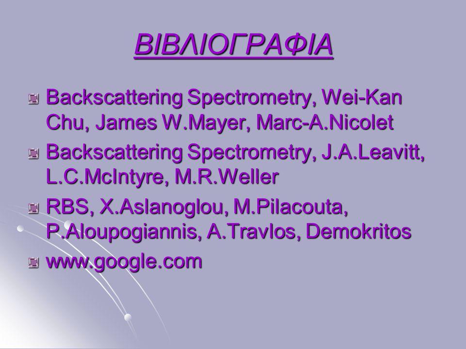 ΒΙΒΛΙΟΓΡΑΦΙΑ Backscattering Spectrometry, Wei-Kan Chu, James W.Mayer, Marc-A.Nicolet Backscattering Spectrometry, J.A.Leavitt, L.C.McIntyre, M.R.Welle