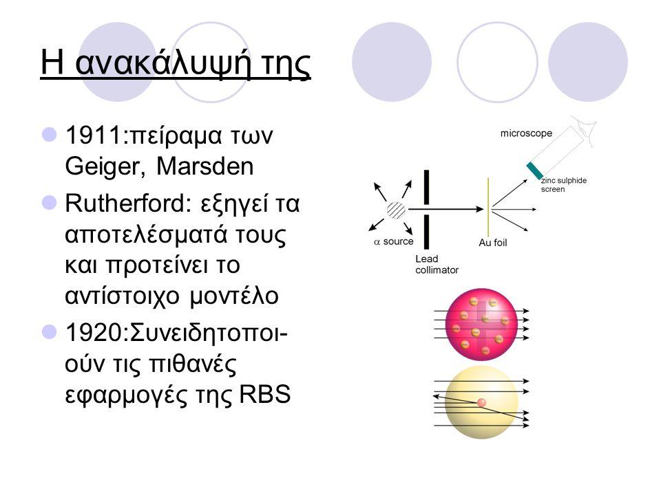Η ανακάλυψή της 1911:πείραμα των Geiger, Marsden Rutherford: εξηγεί τα αποτελέσματά τους και προτείνει το αντίστοιχο μοντέλο 1920:Συνειδητοποι- ούν τι