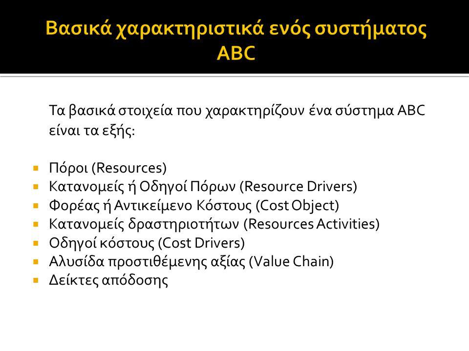 Τα βασικά στοιχεία που χαρακτηρίζουν ένα σύστημα ABC είναι τα εξής:  Πόροι (Resources)  Κατανομείς ή Οδηγοί Πόρων (Resource Drivers)  Φορέας ή Αντικείμενο Κόστους (Cost Object)  Κατανομείς δραστηριοτήτων (Resources Activities)  Οδηγοί κόστους (Cost Drivers)  Αλυσίδα προστιθέμενης αξίας (Value Chain)  Δείκτες απόδοσης
