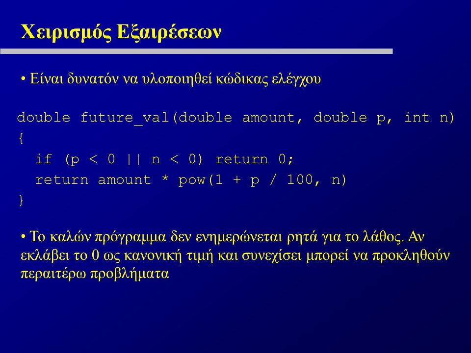 Χειρισμός Εξαιρέσεων Είναι δυνατόν να υλοποιηθεί κώδικας ελέγχου double future_val(double amount, double p, int n) { if (p < 0 || n < 0) return 0; return amount * pow(1 + p / 100, n) } Το καλών πρόγραμμα δεν ενημερώνεται ρητά για το λάθος.