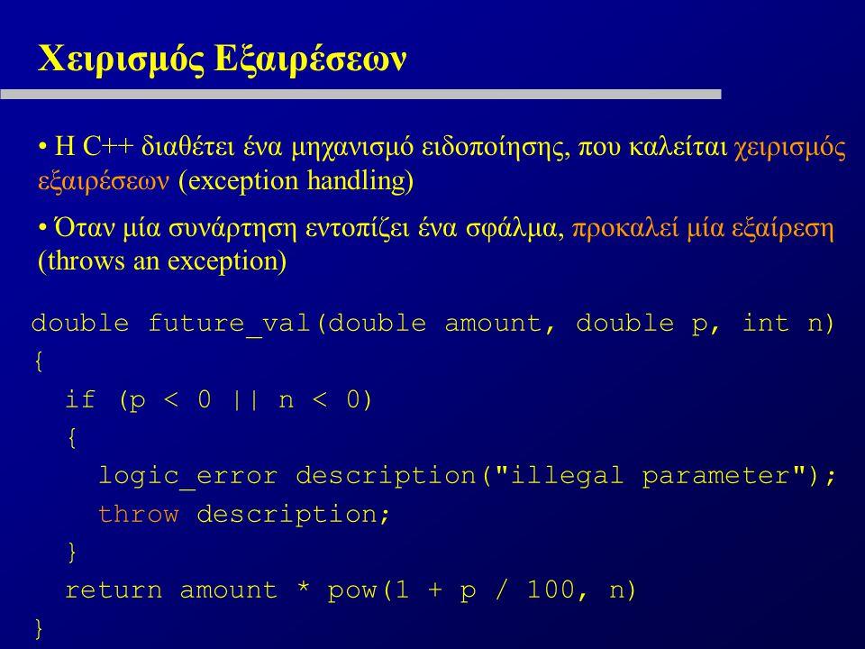 Χειρισμός Εξαιρέσεων Η C++ διαθέτει ένα μηχανισμό ειδοποίησης, που καλείται χειρισμός εξαιρέσεων (exception handling) Όταν μία συνάρτηση εντοπίζει ένα σφάλμα, προκαλεί μία εξαίρεση (throws an exception) double future_val(double amount, double p, int n) { if (p < 0 || n < 0) { logic_error description( illegal parameter ); throw description; } return amount * pow(1 + p / 100, n) }