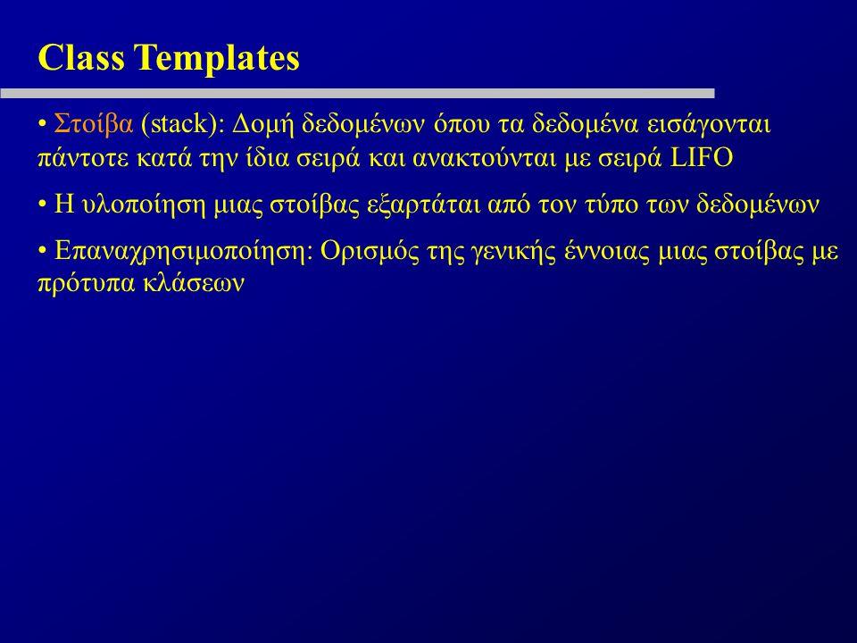 Class Templates Στοίβα (stack): Δομή δεδομένων όπου τα δεδομένα εισάγονται πάντοτε κατά την ίδια σειρά και ανακτούνται με σειρά LIFO Η υλοποίηση μιας στοίβας εξαρτάται από τον τύπο των δεδομένων Επαναχρησιμοποίηση: Ορισμός της γενικής έννοιας μιας στοίβας με πρότυπα κλάσεων