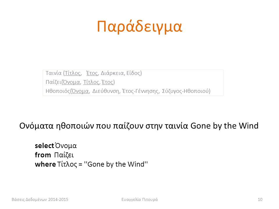 Ευαγγελία Πιτουρά10 select Όνομα from Παίζει where Τίτλος = ''Gone by the Wind'' Ονόματα ηθοποιών που παίζουν στην ταινία Gone by the Wind Ταινία (Τίτ