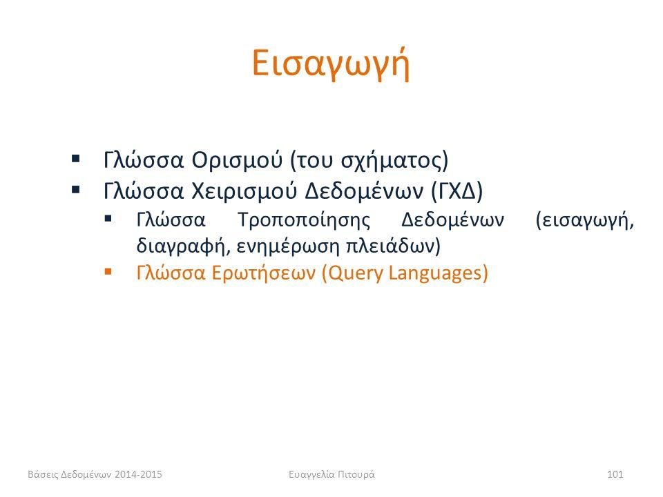 Ευαγγελία Πιτουρά101  Γλώσσα Ορισμού (του σχήματος)  Γλώσσα Χειρισμού Δεδομένων (ΓΧΔ)  Γλώσσα Τροποποίησης Δεδομένων (εισαγωγή, διαγραφή, ενημέρωση