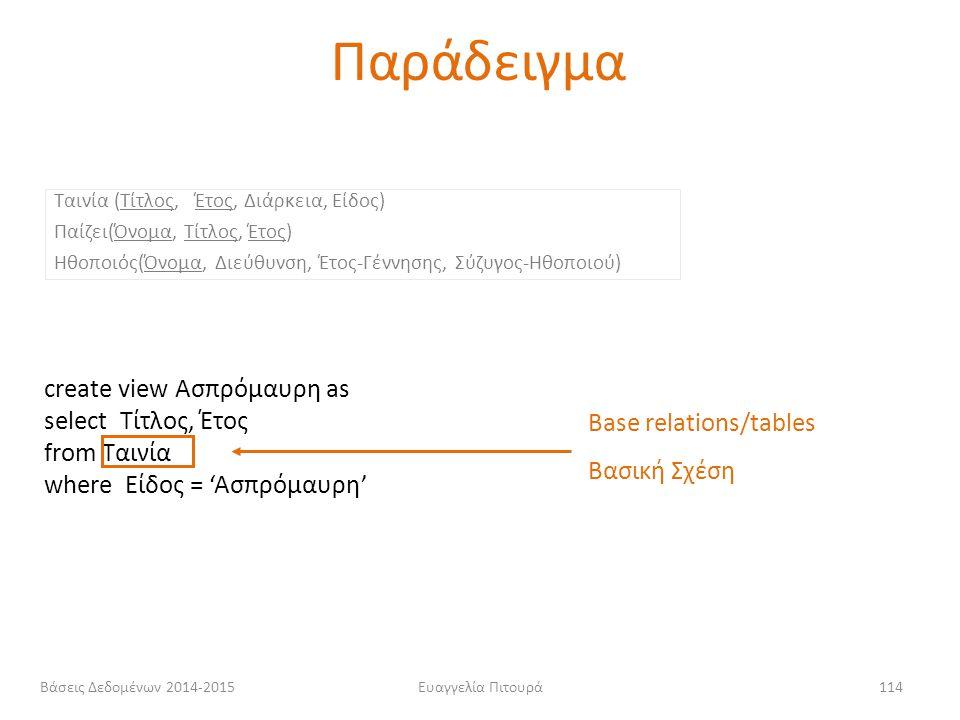 Ευαγγελία Πιτουρά114 Ταινία (Τίτλος, Έτος, Διάρκεια, Είδος) Παίζει(Όνομα, Τίτλος, Έτος) Ηθοποιός(Όνομα, Διεύθυνση, Έτος-Γέννησης, Σύζυγος-Ηθοποιού) cr