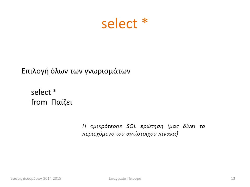 Ευαγγελία Πιτουρά13 select * from Παίζει Επιλογή όλων των γνωρισμάτων Η «μικρότερη» SQL ερώτηση (μας δίνει το περιεχόμενο του αντίστοιχου πίνακα) sele