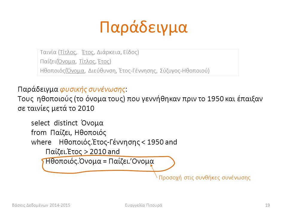 Ευαγγελία Πιτουρά19 Παράδειγμα φυσικής συνένωσης: Tους ηθοποιούς (το όνομα τους) που γεννήθηκαν πριν το 1950 και έπαιξαν σε ταινίες μετά το 2010 selec