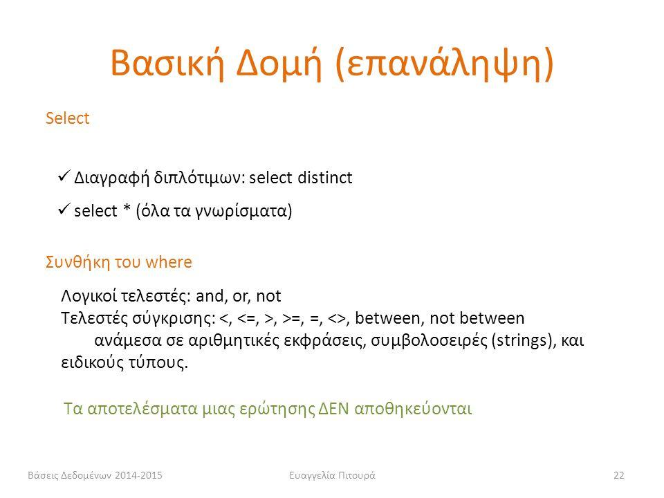 Ευαγγελία Πιτουρά22 Select Διαγραφή διπλότιμων: select distinct select * (όλα τα γνωρίσματα) Συνθήκη του where Λογικοί τελεστές: and, or, not Τελεστές
