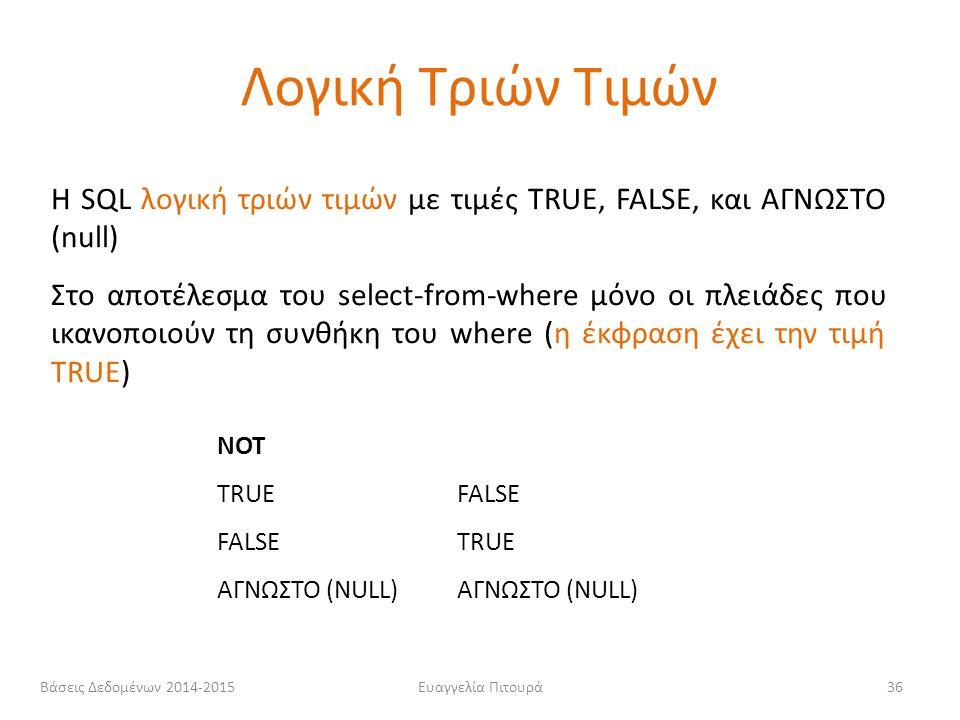 Ευαγγελία Πιτουρά36 Η SQL λογική τριών τιμών με τιμές TRUE, FALSE, και ΑΓΝΩΣΤΟ (null) Στο αποτέλεσμα του select-from-where μόνο οι πλειάδες που ικανοπ