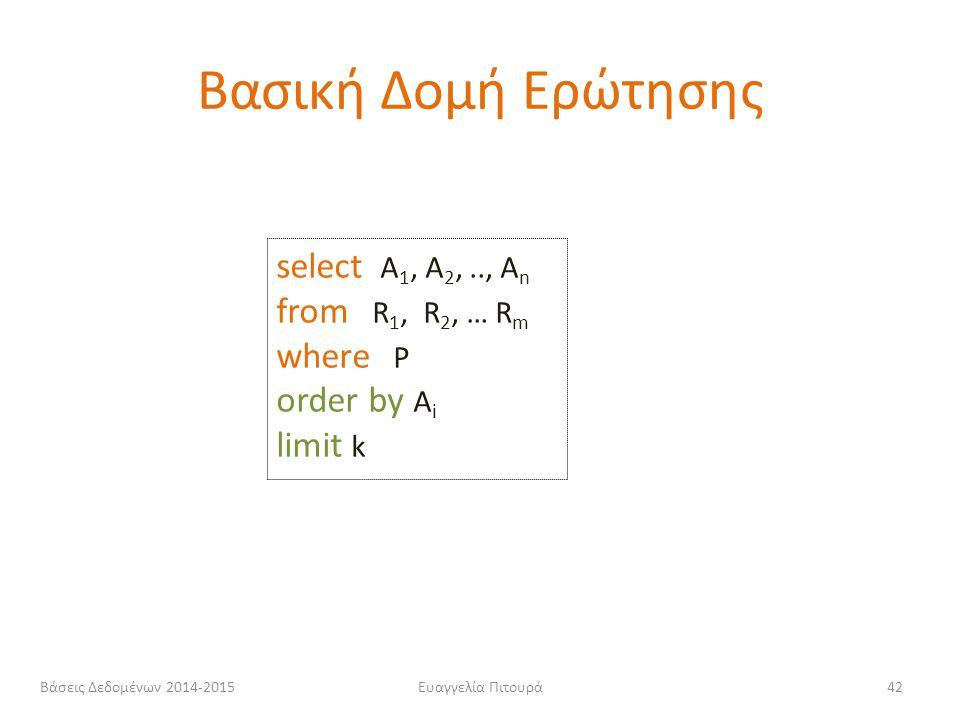 Ευαγγελία Πιτουρά42 select Α 1, Α 2,.., Α n from R 1, R 2, … R m where P order by Α i limit k Βασική Δομή Ερώτησης Βάσεις Δεδομένων 2014-2015