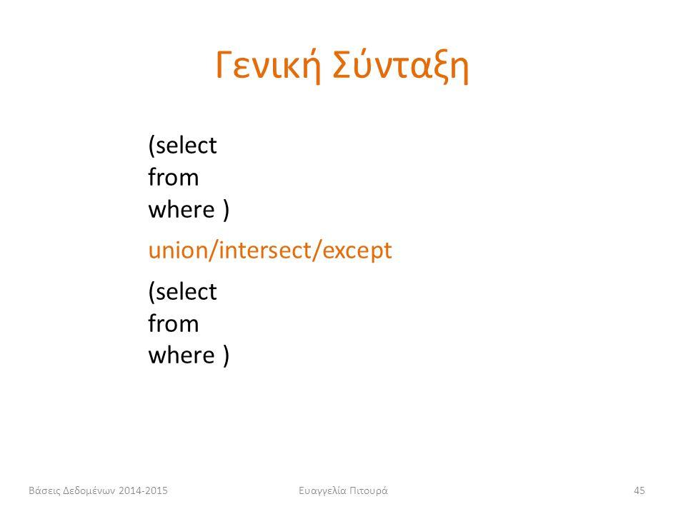 Ευαγγελία Πιτουρά45 (select from where ) union/intersect/except (select from where ) Γενική Σύνταξη Βάσεις Δεδομένων 2014-2015