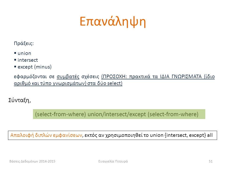 Ευαγγελία Πιτουρά51 Πράξεις:  union  intersect  except (minus) εφαρμόζονται σε συμβατές σχέσεις (ΠΡΟΣΟΧΗ: πρακτικά τα ΙΔΙΑ ΓΝΩΡΙΣΜΑΤΑ (ίδιο αριθμό