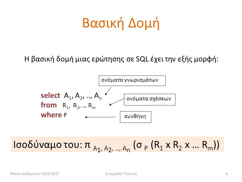 Ευαγγελία Πιτουρά6 select Α 1, Α 2,.., Α n from R 1, R 2, … R m where P Η βασική δομή μιας ερώτησης σε SQL έχει την εξής μορφή: Ισοδύναμο του: π A 1,