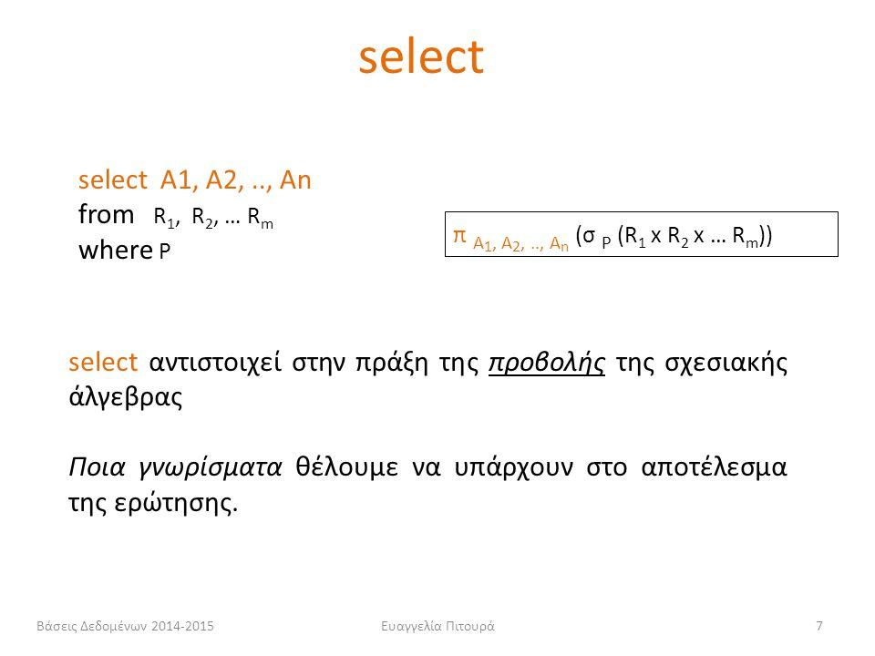Ευαγγελία Πιτουρά8 select Α 1, Α 2,.., Α n from R 1, R 2, … R m where P π A 1, A 2,.., A n (σ P (R 1 x R 2 x … R m )) from αντιστοιχεί στην πράξη του καρτεσιανού γινομένου της σχεσιακής άλγεβρας.