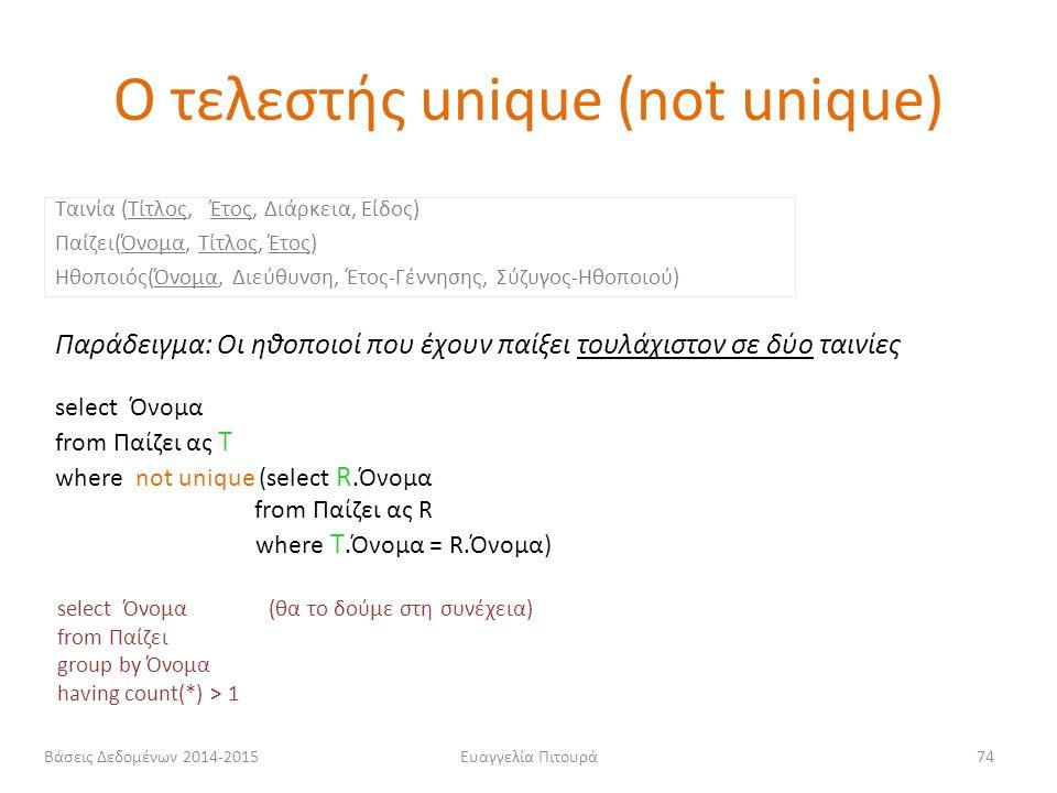 Ευαγγελία Πιτουρά74 Παράδειγμα: Οι ηθοποιοί που έχουν παίξει τουλάχιστον σε δύο ταινίες select Όνομα from Παίζει ας T where not unique (select R.Όνομα