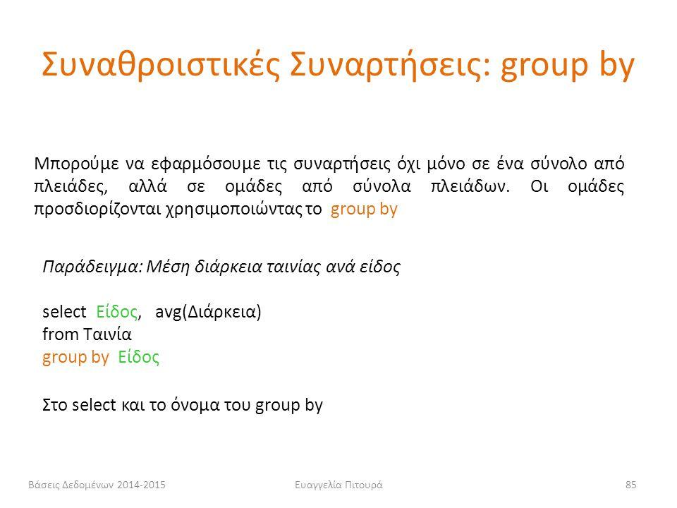 Ευαγγελία Πιτουρά85 Μπορούμε να εφαρμόσουμε τις συναρτήσεις όχι μόνο σε ένα σύνολο από πλειάδες, αλλά σε ομάδες από σύνολα πλειάδων. Οι ομάδες προσδιο