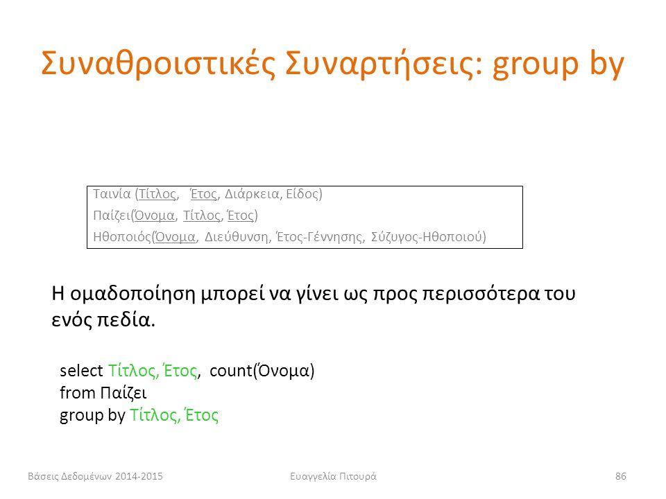 Ευαγγελία Πιτουρά86 Η ομαδοποίηση μπορεί να γίνει ως προς περισσότερα του ενός πεδία. select Τίτλος, Έτος, count(Όνομα) from Παίζει group by Τίτλος, Έ