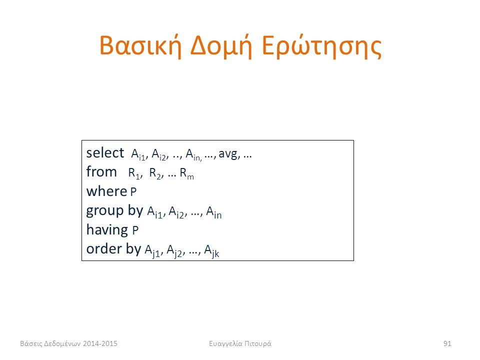 Ευαγγελία Πιτουρά91 select Α i1, Α i2,.., Α in, …, avg, … from R 1, R 2, … R m where P group by Α i1, A i2, …, A in having P order by A j1, A j2, …, A