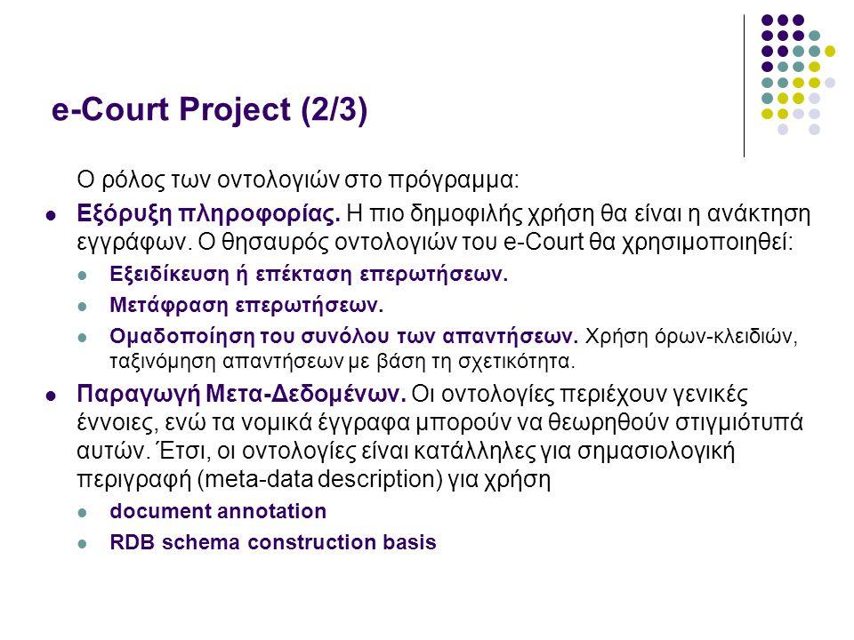 e-Court Project (2/3) O ρόλος των οντολογιών στο πρόγραμμα: Εξόρυξη πληροφορίας.