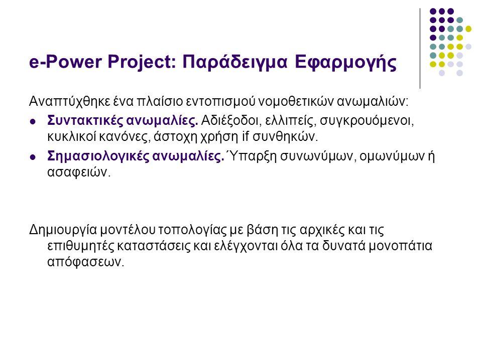 e-Power Project: Παράδειγμα Εφαρμογής Αναπτύχθηκε ένα πλαίσιο εντοπισμού νομοθετικών ανωμαλιών: Συντακτικές ανωμαλίες.
