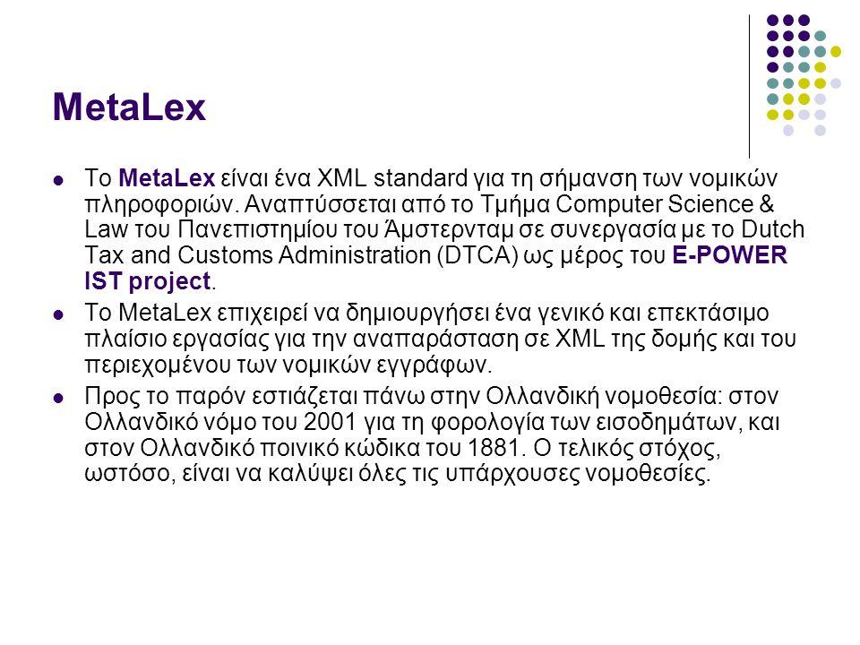 MetaLex Το MetaLex είναι ένα XML standard για τη σήμανση των νομικών πληροφοριών.