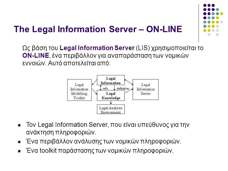 The Legal Information Server – ON-LINE Ως βάση του Legal Information Server (LIS) χρησιμοποιείται το ON-LINE, ένα περιβάλλον για αναπαράσταση των νομικών εννοιών.