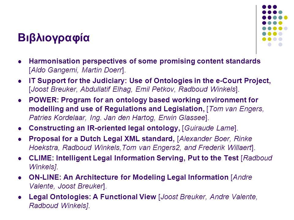 Βιβλιογραφία Harmonisation perspectives of some promising content standards [Aldo Gangemi, Martin Doerr]. IT Support for the Judiciary: Use of Ontolog
