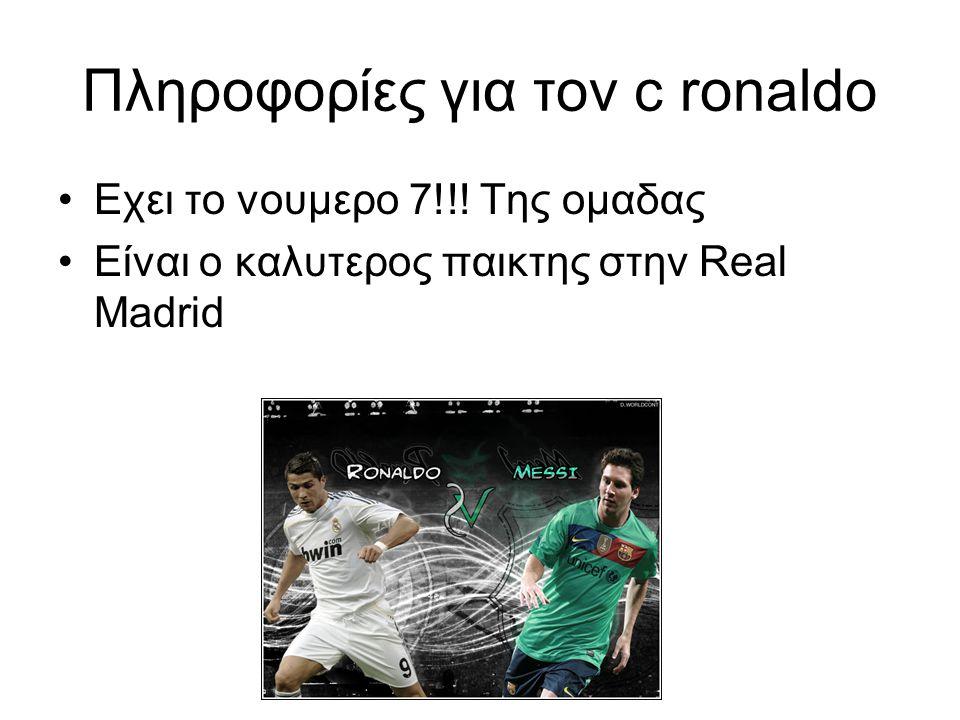 Πληροφορίες για τον c ronaldo Εχει το νουμερο 7!!.