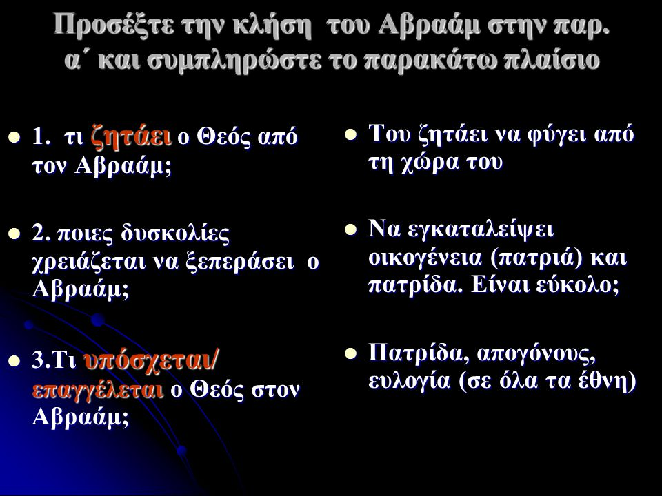 Προσέξτε την κλήση του Αβραάμ στην παρ. α΄ και συμπληρώστε το παρακάτω πλαίσιο 1. τι ζητάει ο Θεός από τον Αβραάμ; 1. τι ζητάει ο Θεός από τον Αβραάμ;