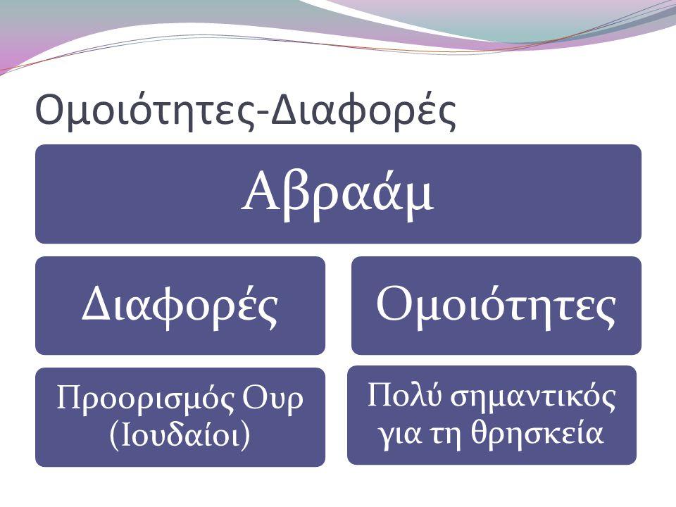 Ομοιότητες-Διαφορές Αβραάμ Διαφορές Προορισμός Ουρ (Ιουδαίοι) Ομοιότητες Πολύ σημαντικός για τη θρησκεία