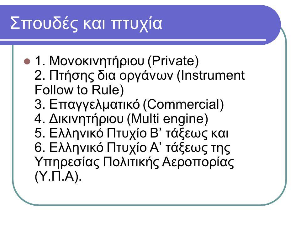 Σπουδές και πτυχία 1. Μονοκινητήριου (Private) 2. Πτήσης δια οργάνων (Instrument Follow to Rule) 3. Επαγγελματικό (Commercial) 4. Δικινητήριου (Multi