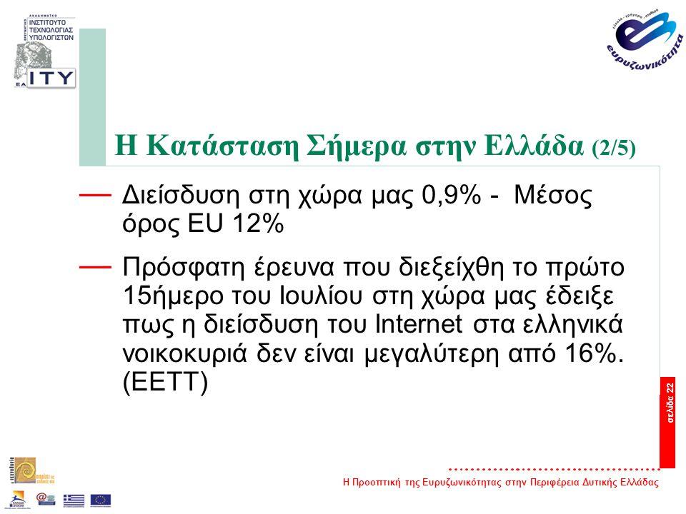 Η Προοπτική της Ευρυζωνικότητας στην Περιφέρεια Δυτικής Ελλάδας σελίδα 22 Η Κατάσταση Σήμερα στην Ελλάδα (2/5) — Διείσδυση στη χώρα μας 0,9% - Μέσος όρος EU 12% — Πρόσφατη έρευνα που διεξείχθη το πρώτο 15ήμερο του Ιουλίου στη χώρα μας έδειξε πως η διείσδυση του Internet στα ελληνικά νοικοκυριά δεν είναι μεγαλύτερη από 16%.