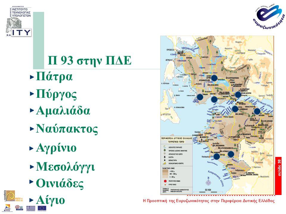 Η Προοπτική της Ευρυζωνικότητας στην Περιφέρεια Δυτικής Ελλάδας σελίδα 38 Π 93 στην ΠΔΕ Πάτρα Πύργος Αμαλιάδα Ναύπακτος Αγρίνιο Μεσολόγγι Οινιάδες Αίγ