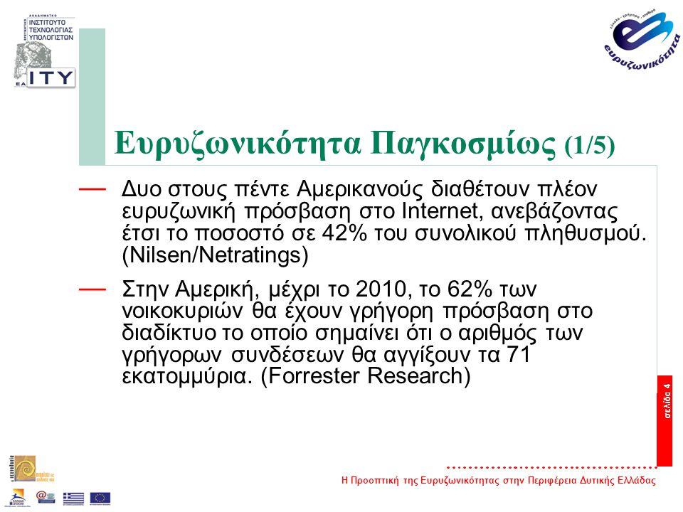Η Προοπτική της Ευρυζωνικότητας στην Περιφέρεια Δυτικής Ελλάδας σελίδα 4 Ευρυζωνικότητα Παγκοσμίως (1/5) — Δυο στους πέντε Αμερικανούς διαθέτουν πλέον ευρυζωνική πρόσβαση στο Internet, ανεβάζοντας έτσι το ποσοστό σε 42% του συνολικού πληθυσμού.